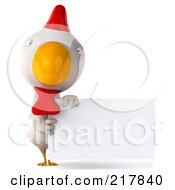 Royalty Free RF Clipart Illustration Of A 3d White Chicken Holding A Blank Sign