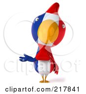 Royalty Free RF Clipart Illustration Of A 3d French Chicken Facing Front And Gesturing With One Hand by Julos