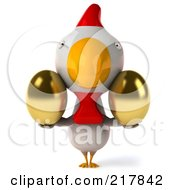 Royalty Free RF Clipart Illustration Of A 3d White Chicken Facing Front And Holding Golden Eggs