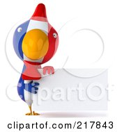 Royalty Free RF Clipart Illustration Of A 3d French Chicken Holding A Blank Sign by Julos