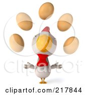 Royalty Free RF Clipart Illustration Of A 3d White Chicken Facing Front And Looking Up At Eggs