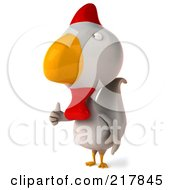 Royalty Free RF Clipart Illustration Of A 3d White Chicken Facing Left And Holding A Thumb Up
