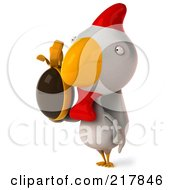 Royalty Free RF Clipart Illustration Of A 3d White Chicken Facing Left And Holding A Chocolate Egg