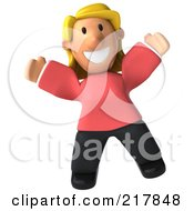 Royalty Free RF Clipart Illustration Of A 3d Casual Woman Jumping