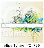 Clipart Picture Illustration Of A Blank White Text Box With Brown Blue And Green Splatters Flowers And Vines Over A Gradient Background