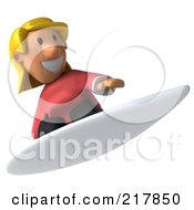 Royalty Free RF Clipart Illustration Of A 3d Casual Woman Surfing 2