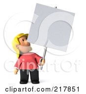 Royalty Free RF Clipart Illustration Of A 3d Casual Woman Looking Up At And Holding A Blank Sign On A Pole