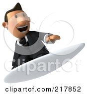 Royalty Free RF Clipart Illustration Of A 3d Business Toon Guy Surfing 2 by Julos