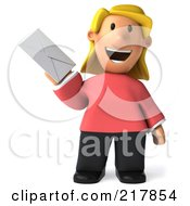 Royalty Free RF Clipart Illustration Of A 3d Casual Woman Holding An Envelope