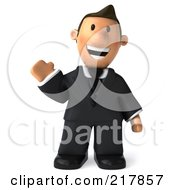Royalty Free RF Clipart Illustration Of A 3d Business Toon Guy Facing Front And Waving by Julos