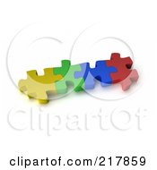Poster, Art Print Of Four 3d Interconnected Colorful Puzzle Pieces