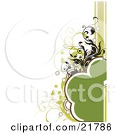 Clipart Picture Illustration Of A Rounded Green Text Space With Black And Green Circles Splatters And Vines On A White Background