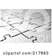 Royalty Free RF Clipart Illustration Of An Angled Background Of Silver Puzzle Pieces by stockillustrations