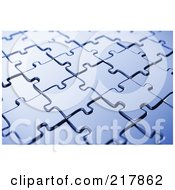 Royalty Free RF Clipart Illustration Of An Angled Background Of Blue Puzzle Pieces by stockillustrations