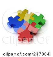Poster, Art Print Of Four 3d Colorful Puzzle Pieces Interconnected