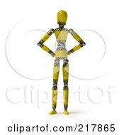 Royalty Free RF Clipart Illustration Of A Golden Hazard Striped Mannequin Standing With His Hands On His Hips by stockillustrations