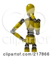 Royalty Free RF Clipart Illustration Of A Golden Hazard Striped Mannequin Standing In Thought by stockillustrations