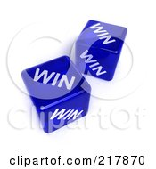 Two 3d Blue Semi Transparent Dice With The Word Win On Them