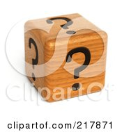 Royalty Free RF Clipart Illustration Of A 3d Wood Dice With Question Marks On Each Side by stockillustrations