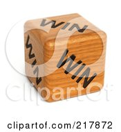 Royalty Free RF Clipart Illustration Of A 3d Wood Dice With Win On Each Side by stockillustrations
