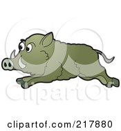 Royalty Free RF Clipart Illustration Of A Running Wild Boar by Lal Perera