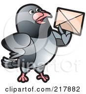 Royalty Free RF Clipart Illustration Of A Gray Pigeon Holding An Envelope 1 by Lal Perera