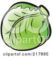 Royalty Free RF Clipart Illustration Of A Head Of Green Cabbage