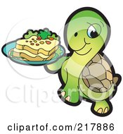 Royalty Free RF Clipart Illustration Of A Cute Tortoise Carrying A Bread Plate by Lal Perera