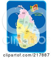 Royalty Free RF Clipart Illustration Of A Map Of Sri Lanka And Its Provinces On Blue by Lal Perera