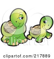 Royalty Free RF Clipart Illustration Of A Flirty Cute Tortoise Couple