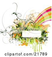Clipart Picture Illustration Of A White Text Box With Green Brown And Orange Paint Splatters Flowers And Vines And A Rainbow On A White Background