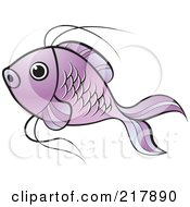 Royalty Free RF Clipart Illustration Of A Purple Koi Fish Swimming