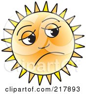 Royalty Free RF Clipart Illustration Of A Depressed Sun Face