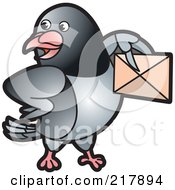 Royalty Free RF Clipart Illustration Of A Gray Pigeon Holding An Envelope 7 by Lal Perera