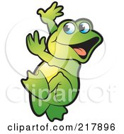 Royalty Free RF Clipart Illustration Of A Green Frog Doing A Happy Dance