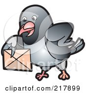 Gray Pigeon Holding An Envelope - 6