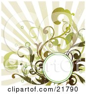 Clipart Picture Illustration Of A Blank White Circle For Text Space With Brown And Green Circles And Vines Over A Bursting Background