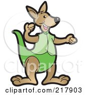 Royalty Free RF Clipart Illustration Of A Gesturing Kangaroo In Green by Lal Perera