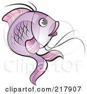 Royalty Free RF Clipart Illustration Of A Purple Koi Fish Turning
