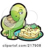 Royalty Free RF Clipart Illustration Of A Cute Tortoise With A Sandwich by Lal Perera