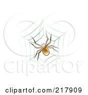 Royalty Free RF Clipart Illustration Of A Brown Spider On Web