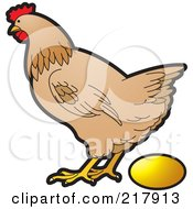 Royalty Free RF Clipart Illustration Of A Brown Hen Laying A Golden Egg
