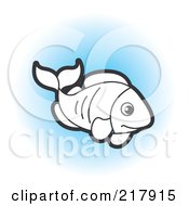 Royalty Free RF Clipart Illustration Of A Black And White Fish Swimming On Blue