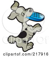 Royalty Free RF Clipart Illustration Of A Puppy Playing With A Flying Disc by Lal Perera