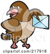 Royalty Free RF Clipart Illustration Of A Brown Pigeon Holding An Envelope by Lal Perera
