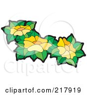Royalty Free RF Clipart Illustration Of Yellow Flowers And Leaves 2