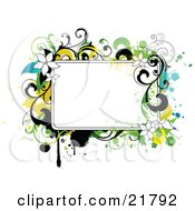 Clipart Picture Illustration Of A Blank White Text Box With White Yellow Black And Green Splatters Flowers And Vines
