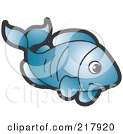 Royalty Free RF Clipart Illustration Of A Blue Fish by Lal Perera
