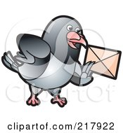 Royalty Free RF Clipart Illustration Of A Gray Pigeon Holding An Envelope 2 by Lal Perera