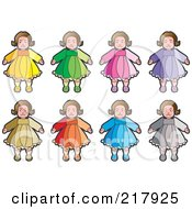 Royalty Free RF Clipart Illustration Of A Digital Collage Of Dolls In Colorful Dresses by Lal Perera